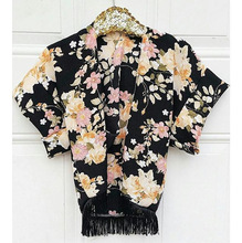 Gorgerous Ins Aliexpress Ebay Wish Hot Models Black Large Flower Printing Fringed Kids Shawl Baby Girl Trend All-match Coat(China)