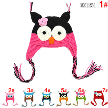 0-3 Years Multicolor Infant Toddler Handmade Knitted Crochet Baby Hat owl hat Cap With Ear Flap Animal Style For Girl Boy Gift