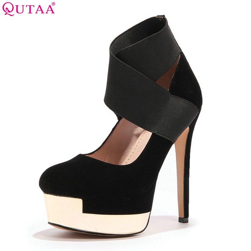 QUTAA 2018 Women Pumps Scrub Flock Women Shoes Thin High Heel Round Toe Platform All Match Women Wedding Shoes Size 34-39<br>