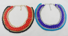 Crochet Necklace New Fashion Jewelry Hot Sale 2014 Cotton Rope Knitted Vintage Chunky Statement