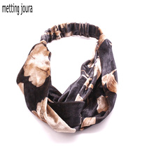 Metting Joura Vintage Winter Autumn Velvet Cross Headband Ethnic Flower Fabric Elastic Turban Hair band Hair Accessories(China)