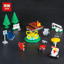 DIY Model Blocks Toys Assemblage Park Tree Bus Stop Building Blocks Set Compatible Lepin City Series 02058 Children Gifts(China)