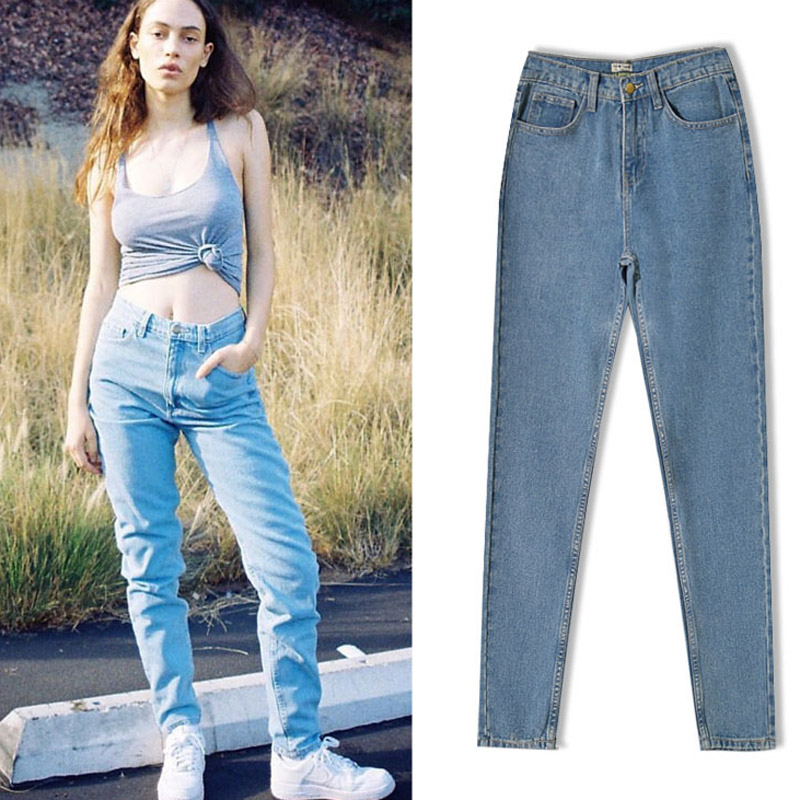 2017 Sky Blue Woman Jeans Loose Long Pant Femme Fashion Cotton High Waist Jeans Straight Pants Plus Size Women Jeans Îäåæäà è àêñåññóàðû<br><br>