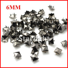 Wholesale 6mm Gun Black  Pyramid Studs Punk DIY Rivets Spike for Clothing /Shoes / Bags 1000pcs/lotstar15