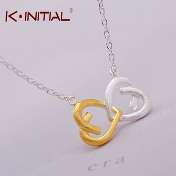 Kinitial 1Pcs New 925 Silver Double Heart Link Necklaces Infinity Kont Pendants Necklace Women  Valentine Lover Gift Jewelry