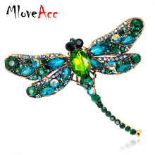 Vintage Design Shinny 6 Colors Crystal Rhinestone Dragonfly Brooches for Women Dress Scarf Brooch Pins Jewelry Accessories Gift(China)