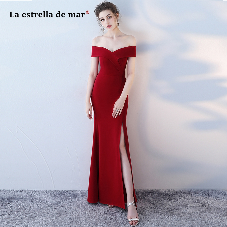 vestidos de formatura New Boat Neck Short Sleeve Sexy Mermaid High Split Elastic Burgundy prom dresses long cheap evening gown