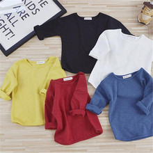Autumn Winter Cotton Kids T Shirt Solid Full Long Sleeve Baby Boys Girls T-Shirt Children Pullovers Tops Tee Boys Clothes