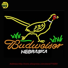Budweiser Nebraska Pheasant Neon Sign HandCraft Decoration Windows Neon Bulb Glass Tube Beer Signs Lighted Attract Bright 31x24(China)