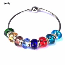 Buy Silver Brass Core Mix color Lampwork Colorful Glass Faceted Beads European Large Hole Beads Charms Bracelet Jewelry Making for $2.21 in AliExpress store