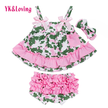 Newborn Girl Clothes Sets Clothing Infant Cotton Swing Top Set Ruffle Outfits Bloomer Baby Girls 0-2 yrs 3pcs Set(China)