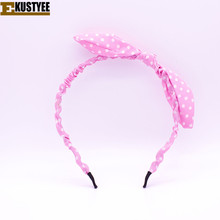 2017 Summer Lovely Dot Rabbit Bunny Ear Ribbon Metal Wire Headband Scarf Hair Head Band Bow Adult Hair Accessories  Hairwear