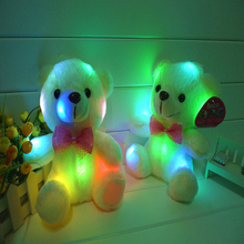 Light colored LED cute plush toy bear shine plush bear plush toy bear tie Valentine's day birthday gift doll(China)