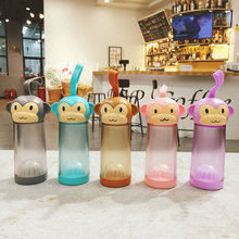 330ML Cute Monkey Plastic Water Bottle For Children Students Cartoon Portable Drinking Kettle 5 Colors Juice Bottle High Quality