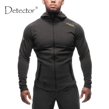 Detector corriendo chaquetas para hombre sudadera con capucha carta imprimir slim fit pullover hoodies de los hombres de ropa deportiva