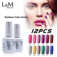 12 Pcs Lot Rainbow Color Series Shinning Colours China Supplier Wholesale Lowest Price Nails Polish Varnish Good Quality(China)