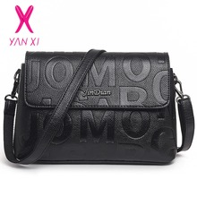 YANXI New Hot Sale Black Embossed Vintage Tote Fashion Women Bags Shoulder Messenger Letter Designer Handbags Small Square Bag(China)