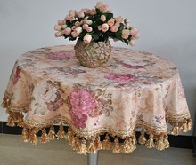 "#199  luxury wedding home peony&tassels round tablecloth table cloth cover mat round  140cm/55""/4.6Ft min1pcs"