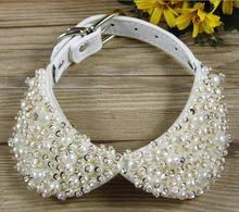 Fashion Bling Rhinestones Pearl Small Dog Pet Collars Leather Collars Necklace For Puppy Accessories(China)