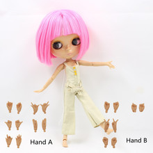 Free shipping 1/6 30cm free shipping tan skin factory blyth doll pink short hair with bangs/fringes 2369 bjd neo toy gift
