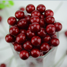 50pcs/lot Mini Fake Plastic Fruit Artificial Small Berries red cherry Stamen Pearlized Wedding Christmas DIY Decorative(China)