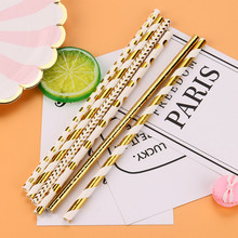 25PCS Gold Striped Mixed Kids Birthday Wedding Decorative Party Decoration Event Supplies Creative Drinking Paper Straws