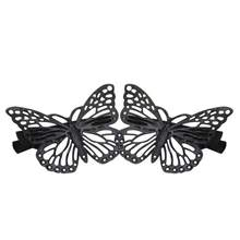 2pcs Hot Elegant Black Butterfly Hairclip Hair Accessory For Bridal Wedding Clip Beauty