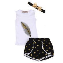 Toddler Kids Girls 3pcs Clothes Children White Sleeveless Feather Vest + Dots Shorts+Black Gold Bow hairband Outfits Set 2-7Y