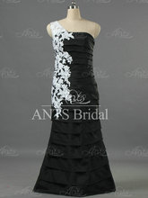 E1274  Vintage One Shoulder Tiered Mermaid Evening Gowns White Lace Black Taffeta