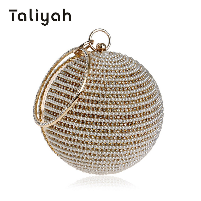 Taliyah Luxury Handbags Women Bags Designer 2018 Round Ball Beaded Evening Clutch Bags Women Wedding Chain Bag bolsa feminina<br>