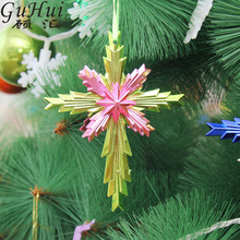 3pcs/lot Multicolored Cross Octagonal Christmas Hanging Pendant Ornaments Xmas Tree New Year Party Accessory Church Celebration(China)