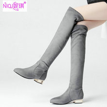 Brand Designer Large Size43 Gray Women Slim Stetch Faux Suede Heeled Knee High Boots Casual Fashion 2017 Cheap Female Footwear