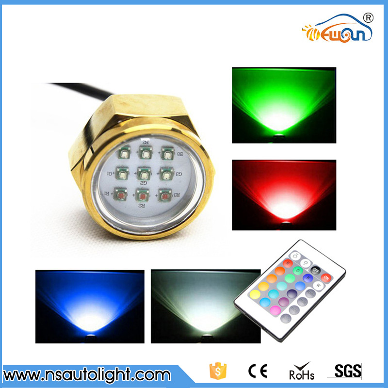 Marine Boat Yacht Light12v 27w RGB remote LED Boat marine light Underwater Light For fishing boating light Swimming pool<br><br>Aliexpress