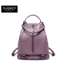 NAWO New Famous Brand Backpack Women Backpacks Solid Fashion School Bags for Girls Genuine Leather Backpack Mochilas Mujer 2016