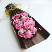 New 11pc Rose Flower Soap Roses Bouquet Birthday Gift Valentine's Day Mother's Day Gift Wedding Decoration With Luxury Gift Box
