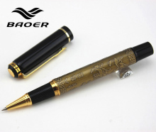"Genuine Baoer 507 Roller ball Pen Golden Xubeihong ""the eight horses"" Medium Nib rollerball Pen"