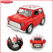 New Arrival 1:38 vintage pull back car with England flag door open beat-up metal car wecker kids gift free shipping(China)
