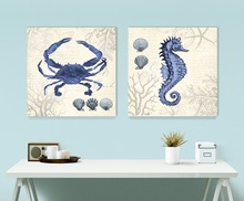2 pcs Original sea animal  crab  Marine organism Style Canvas painting Wall picture Home deco Unframed nursery wall art
