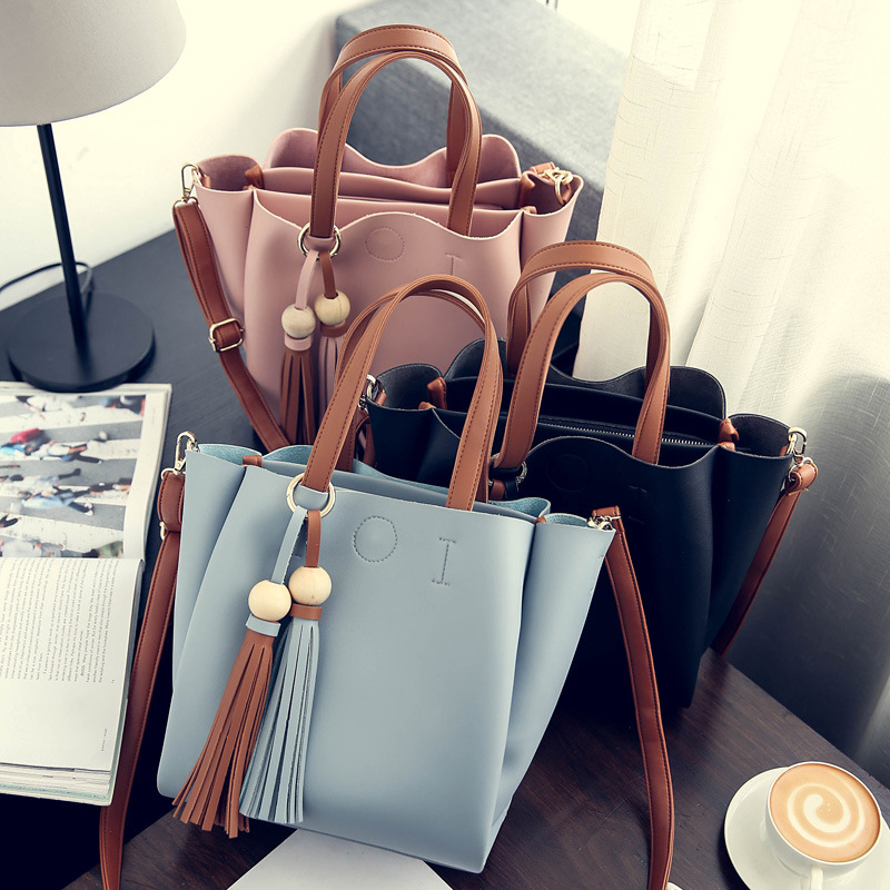 2017 New Hot Fashion Women Female Beaded Solid Color Casual Hasp Tassel Bag Bucket Bag Shoulder Bags Messenger Bag Handbags<br>