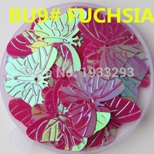 50Pcs Fuchsia Color 22*30mm Large Butterfly Sequins with 2 holes Paillette Sewing glitter stickers in children serioms&Clothing(China)