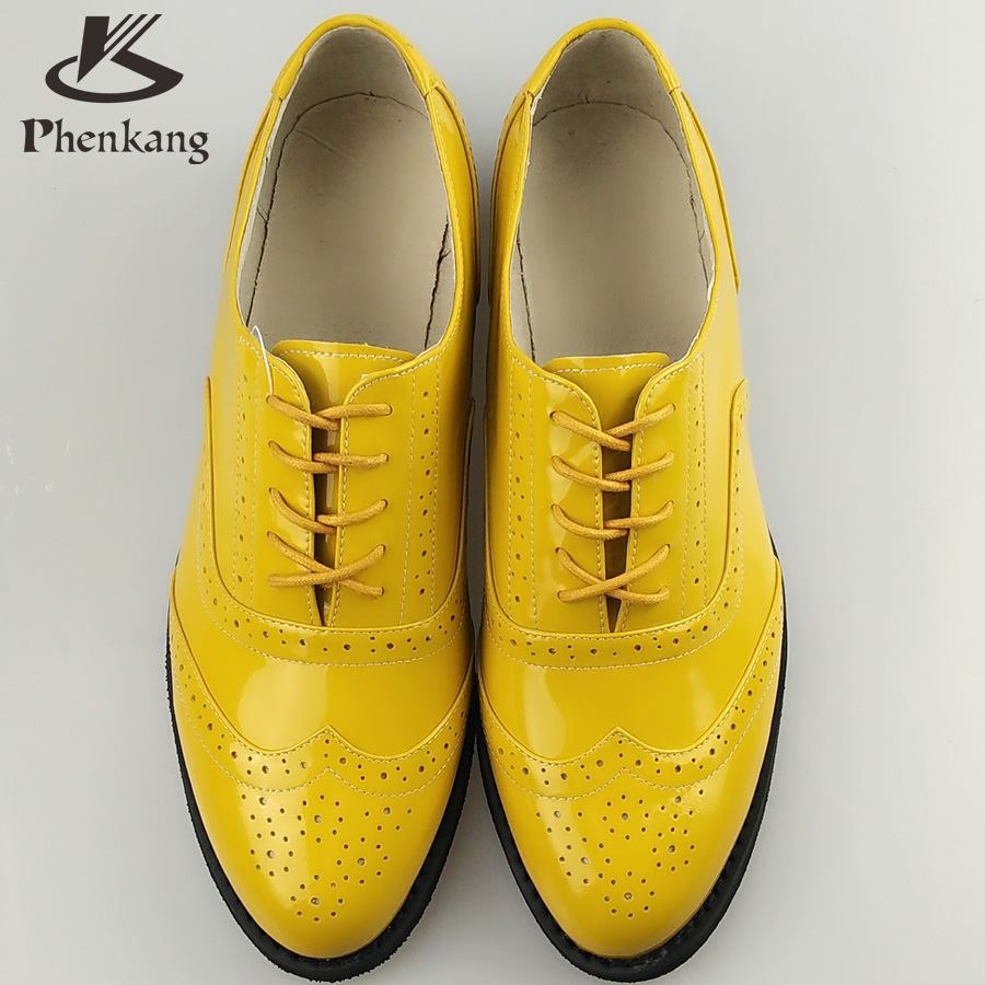 Patent leather big woman US size 11 designer vintage flat shoes round toe handmade yellow 2017 sping oxford shoes for women fur<br><br>Aliexpress