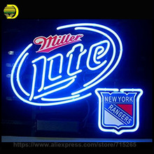 Neon Sign Real Glass Miller Lite New Ranger Neon Light Sign Beer Shop Display Arcade handcraft Glass Neon Sign Publicidad 31X24(China)