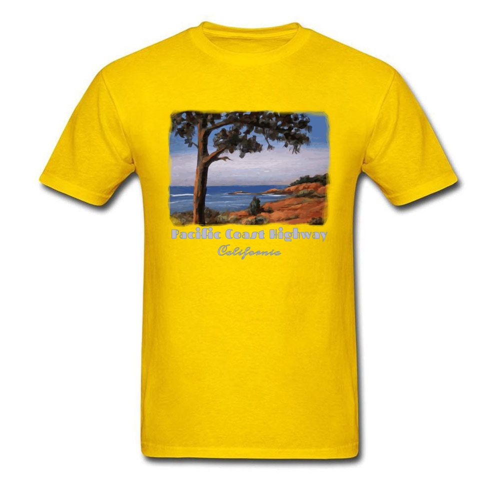 Simple Style Crewneck T Shirts Summer/Fall Tops Tees Short Sleeve Newest Cotton Fabric Printed Tshirts Casual Men Pacific Highway California Highway One Coastal Calif yellow