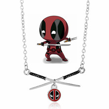 DIY New Design Deadpool Necklace Cross Swords Pendant Necklace Hot Movie Jewelry Long Chain Necklace
