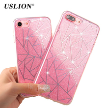 USLION Bling Glitter Case For iPhone 7 6 6s Plus 5 5s SE Geometric Lines Flashing Powder Phone Cases Hard PC Back Cover Capa