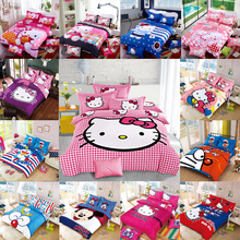 Cartoon cut Mouse Hello Kitty Mouse 4pcs/3pcs Duvet Cover Sets Soft Polyester Bed Linen Flat Bed Sheet Set Pillowcase