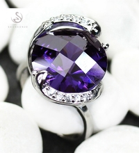 Rave reviews Rings Purple Cubic Zirconia Silver Plated R910 size 6 7 8 9 best sell Noble Generous Best Seller The new product