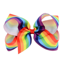 LOEEL 2Pcs/Lot Fashion 7 Color Rainbow Children Bow Knot Hairpin 6 Inch Flowers Patchwork Hair Clips Girls Headwear Hot Selling(China)