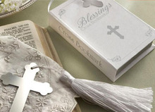 lastest fashion new silver metal bookmarks bookmark Bible cross fringe silk tassel box for Wedding Party Gift(China)