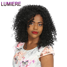 Lumiere Hair Indian Afro Kinky Curly Weave Human Hair Extensions 100g Non Remy Weave Can buy 3/4 Pcs Natural Black Hair Bundles(China)